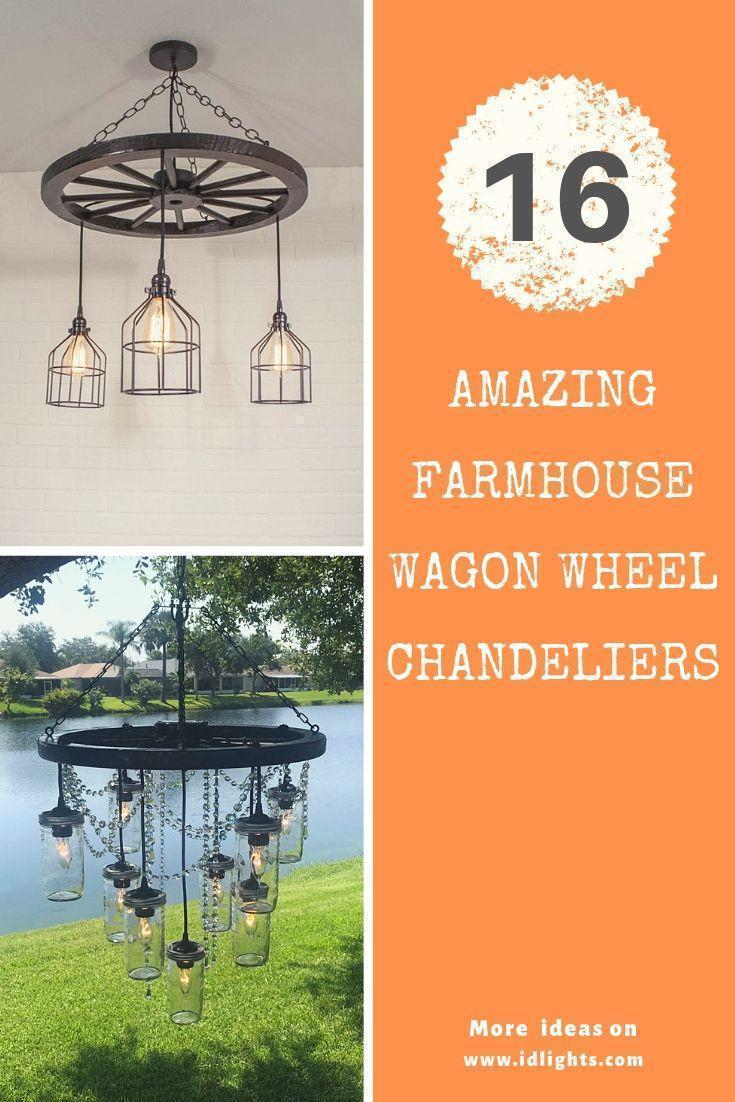 16 Amazing Farmhouse Wood Wagon Wheel Chandeliers