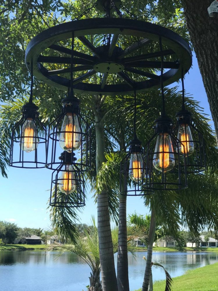 Black Wagon Wheel Chandelier with Cages