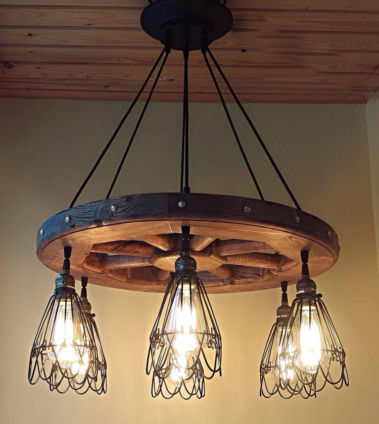 Wagon wheel chandelier rustic lighting