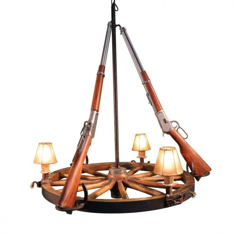 Western 3 Light Wagon Wheel Handcrafted Rifle Chandelier