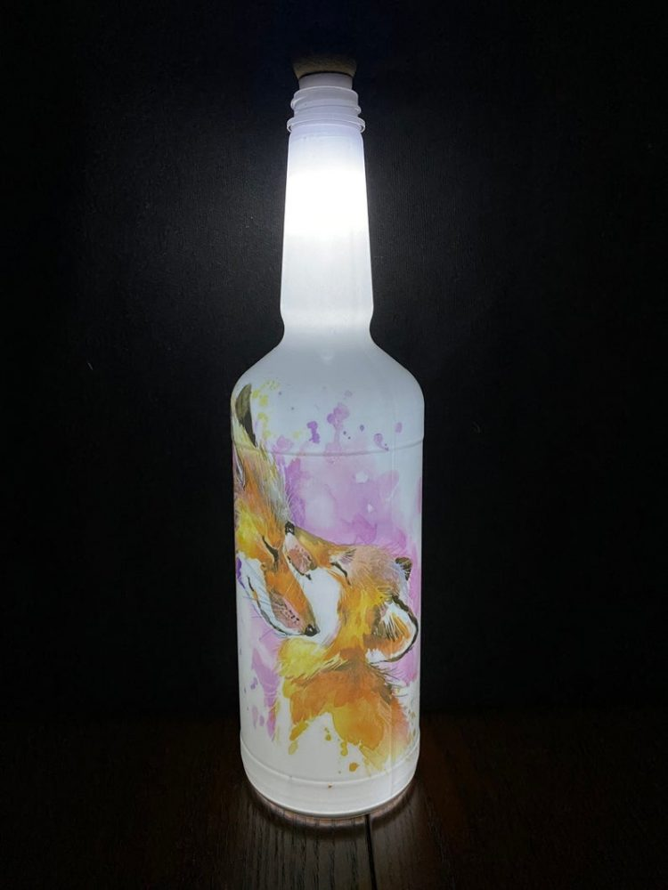 Fox Lighted Decorative Wine Bottle