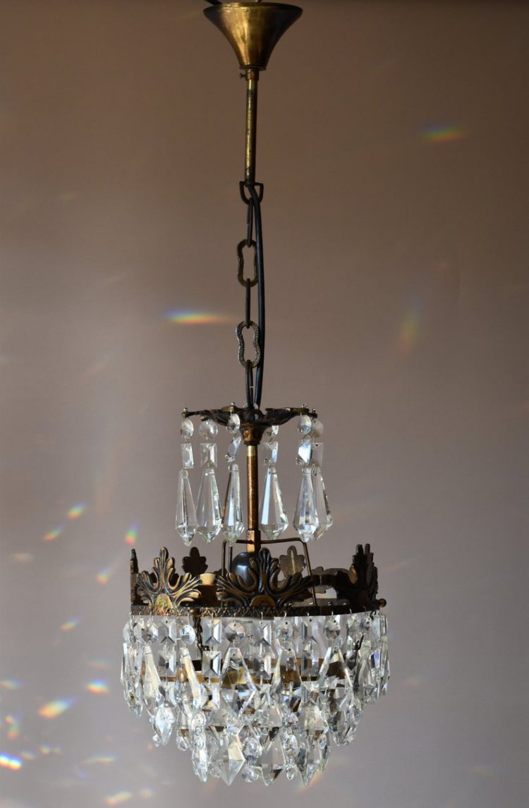 Antique French Crystal Chandelier, Vintage Ceiling Lighting, FREE EXPRESS SHIPPING,