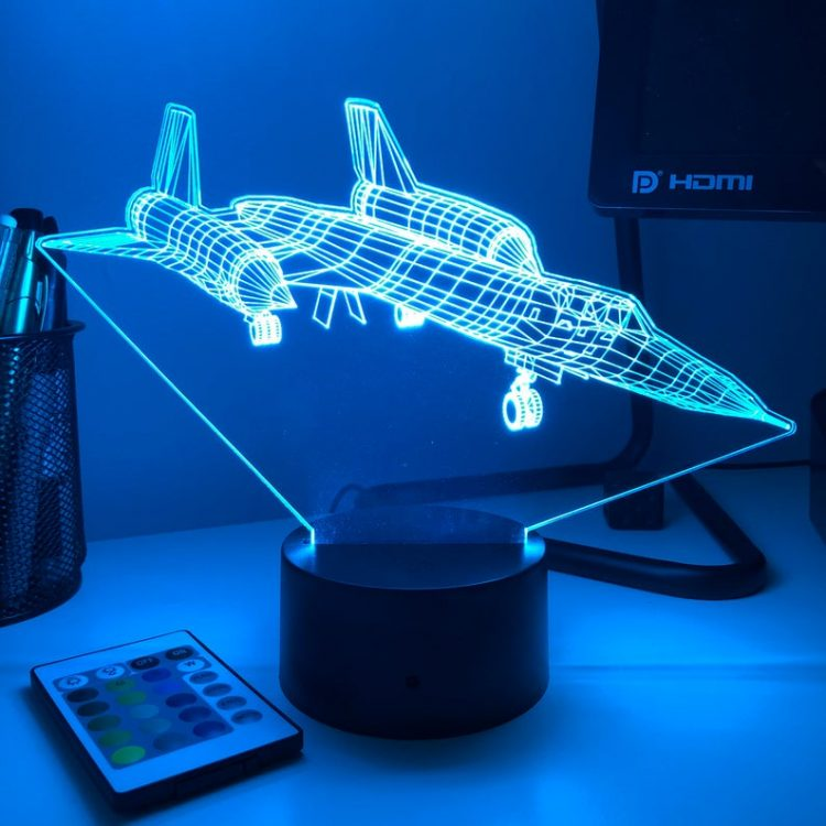 SR-71 Blackbird Spy Plane - 3D Optical Illusion Lamp