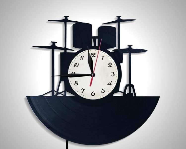 Drums Wall Clock Gift For Friend Music Lover Modern Lamp