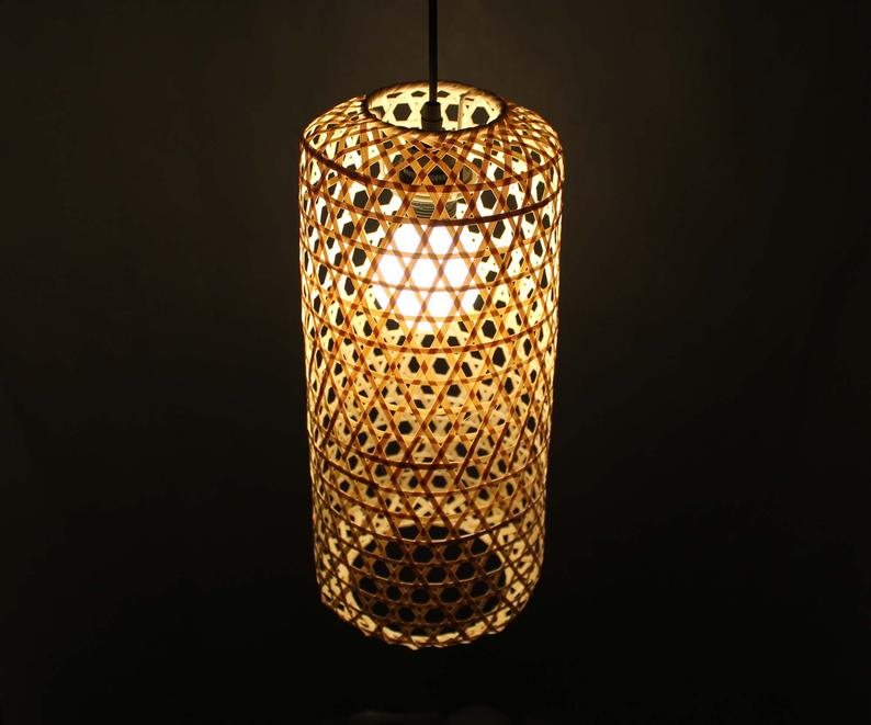 Natural Bamboo or Brown Rustic Style Bamboo Pendant Light -