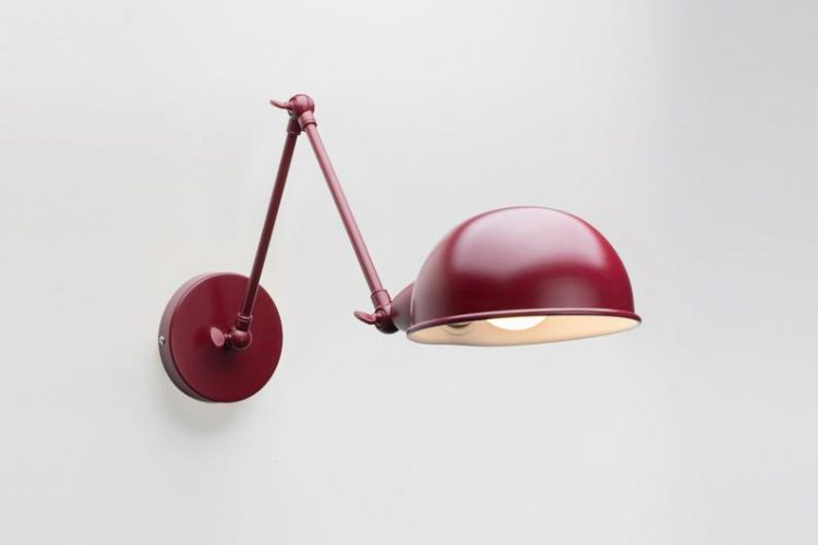 Folke Wall Sconce Burgundy On/Off Switch & Plug-in