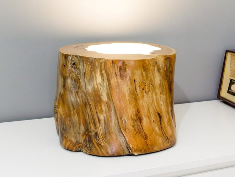 Wood lamp with epoxy resin made in a chestnut trunk.