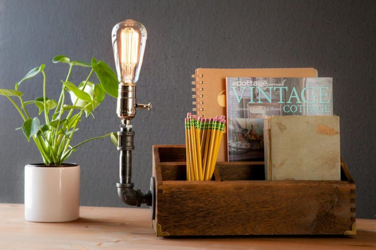 Rustic Desk Organizer Lamp 2 - Desk Lamps - iD Lights