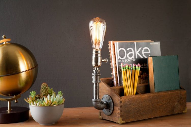 Rustic Desk Organizer Lamp 3 - Desk Lamps - iD Lights