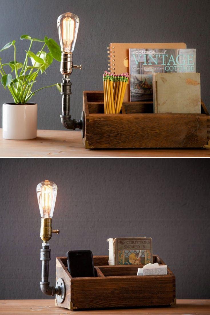 Rustic Desk Organizer Lamp