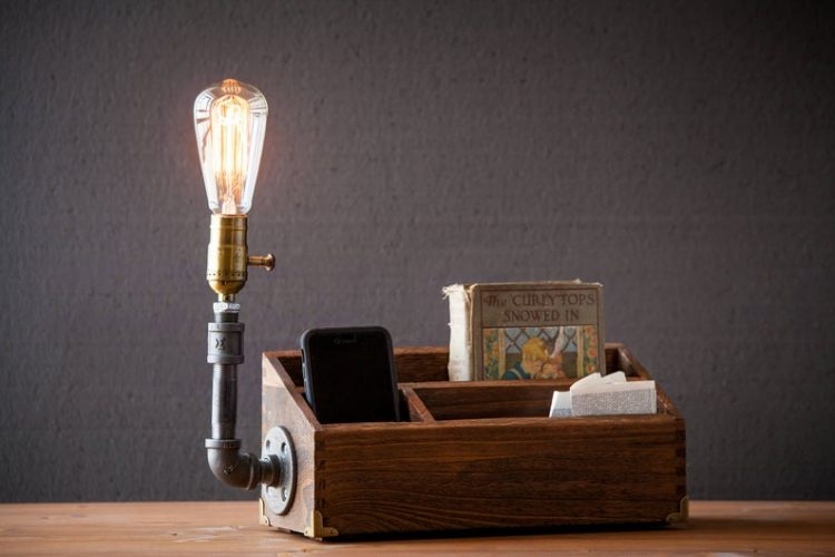 Rustic Desk Organizer Lamp 1 - Desk Lamps - iD Lights