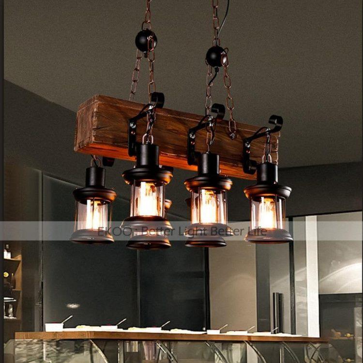 Wood Chandelier Iron Lamp Industrial Rustic Light 2 - Chandeliers - iD Lights