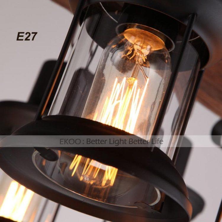Wood Chandelier Iron Lamp Industrial Rustic Light 3 - Chandeliers - iD Lights