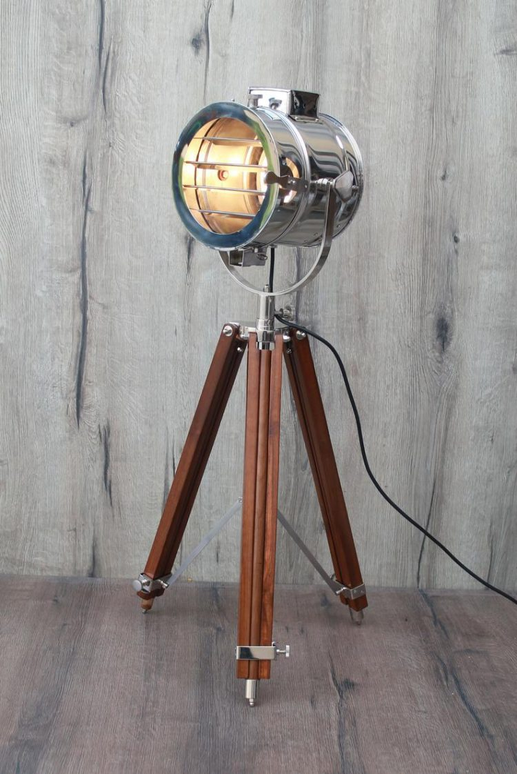 Sleek Scandinavian Design- Chrome Brown - Tripod Floor Lamp
