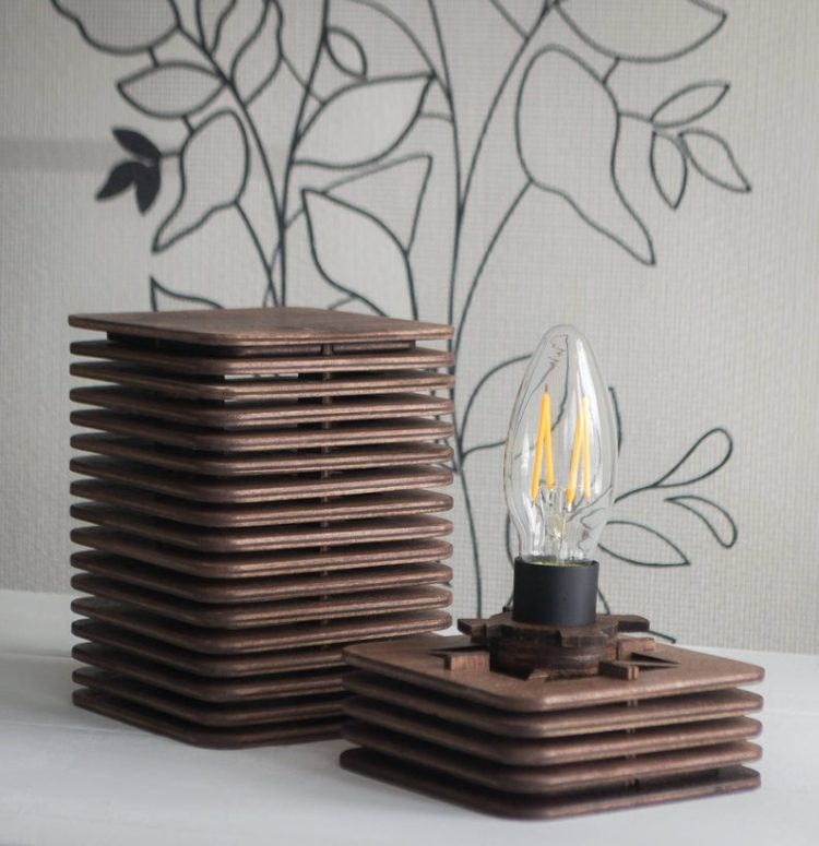 Geometric Bedside Wooden Lamp 1 - Table Lamps - iD Lights