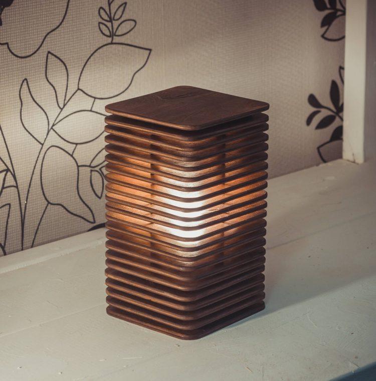 Geometric Bedside Wooden Lamp