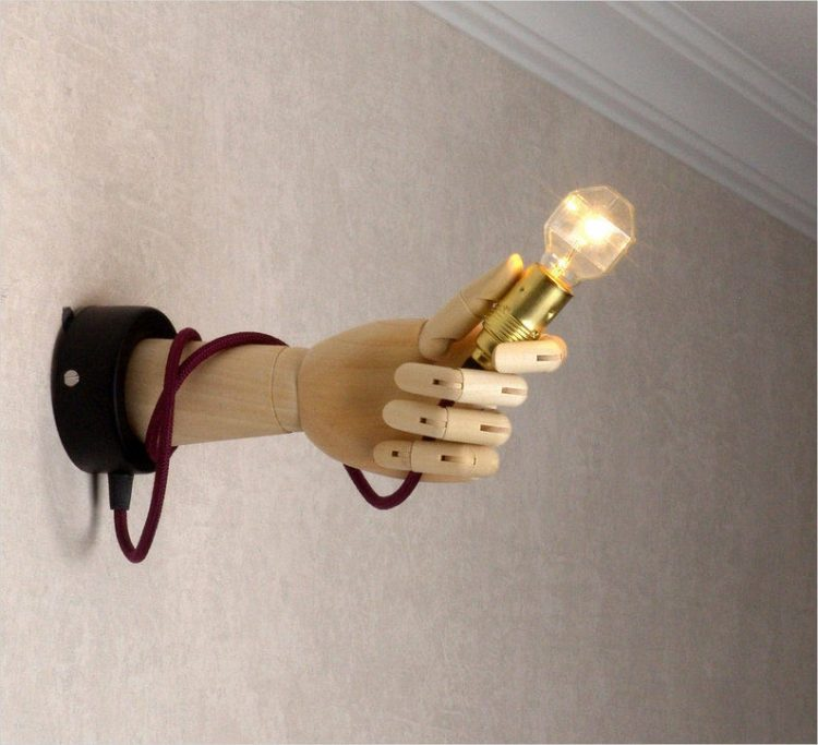 Pinocchio Hand Wooden Wall Sconce