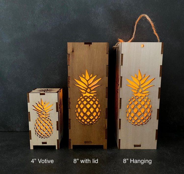 Tall Pineapple Wood Lantern