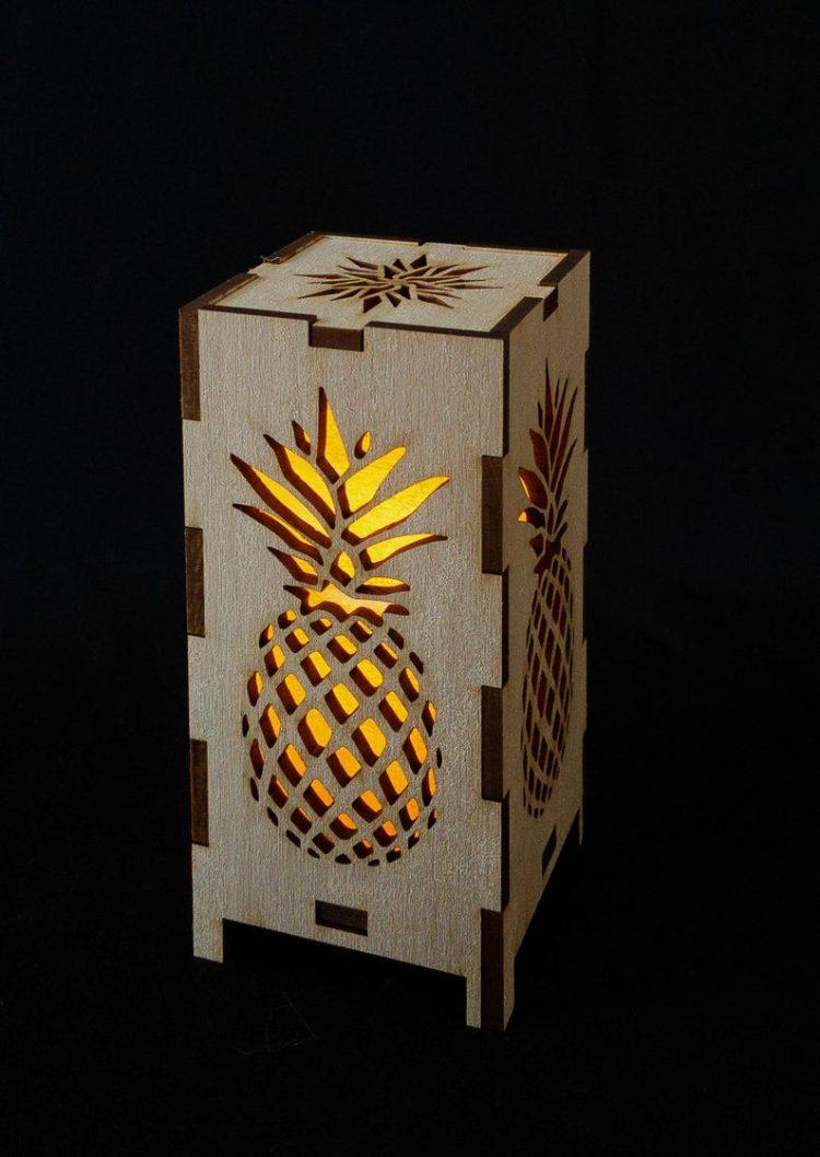 Tall Pineapple Wood Lantern 3 - Table Lamps - iD Lights