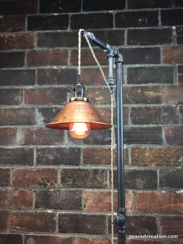 Industrial Floor Lamp with Copper Shade