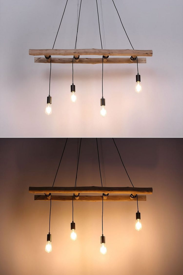 Hanging lamp wooden ladder 1 - Pendant Lighting - iD Lights