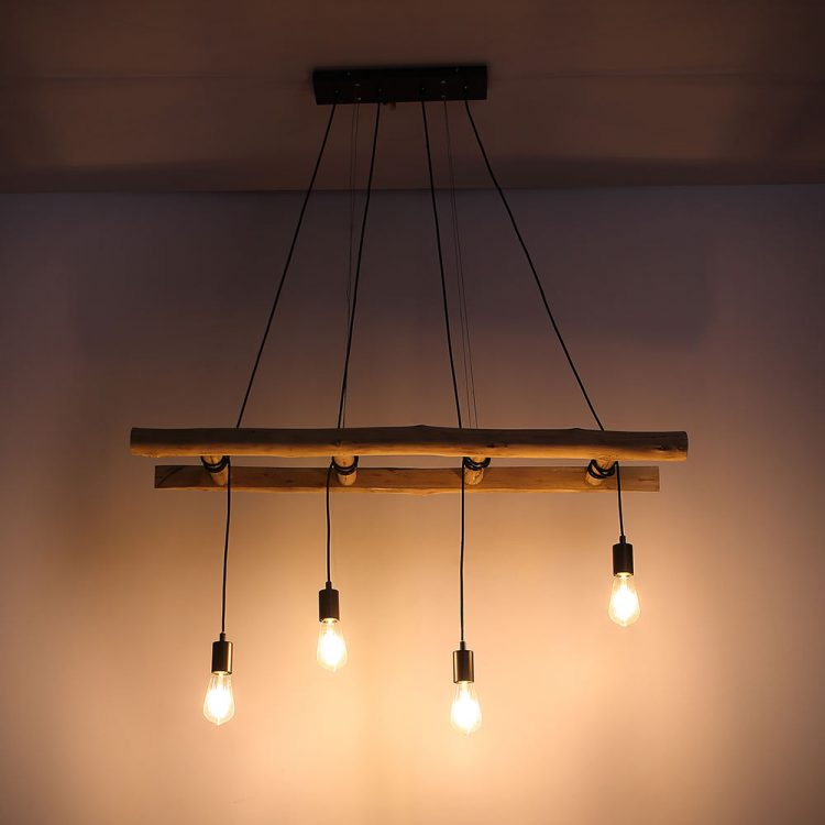 Hanging lamp wooden ladder 4 - Pendant Lighting - iD Lights