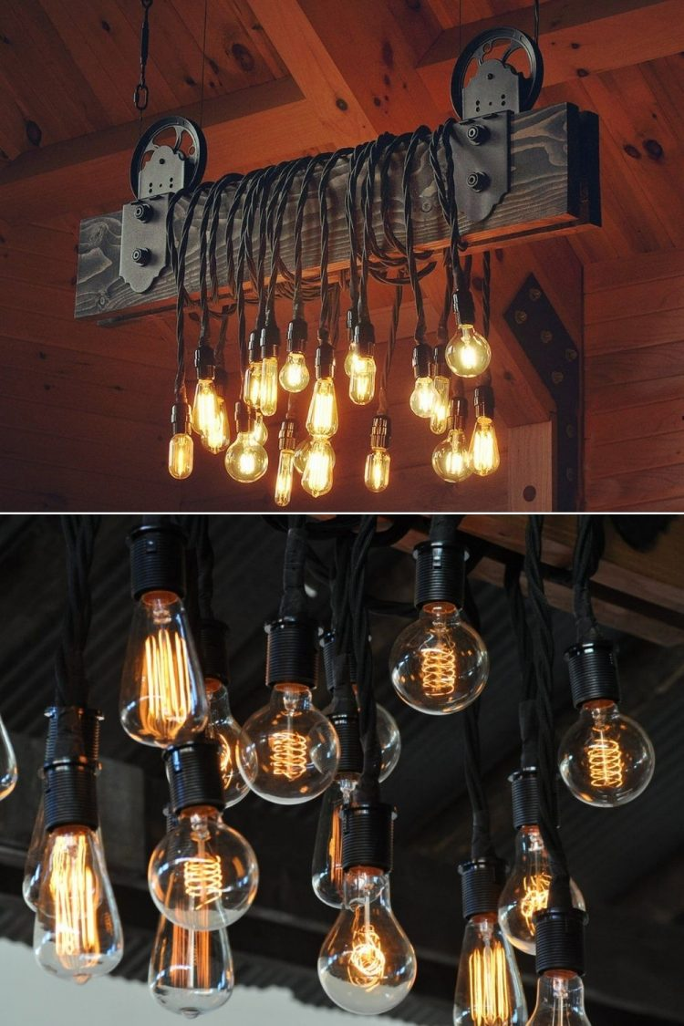 The Farm Beam - Wood Plank Pulley Chandelier