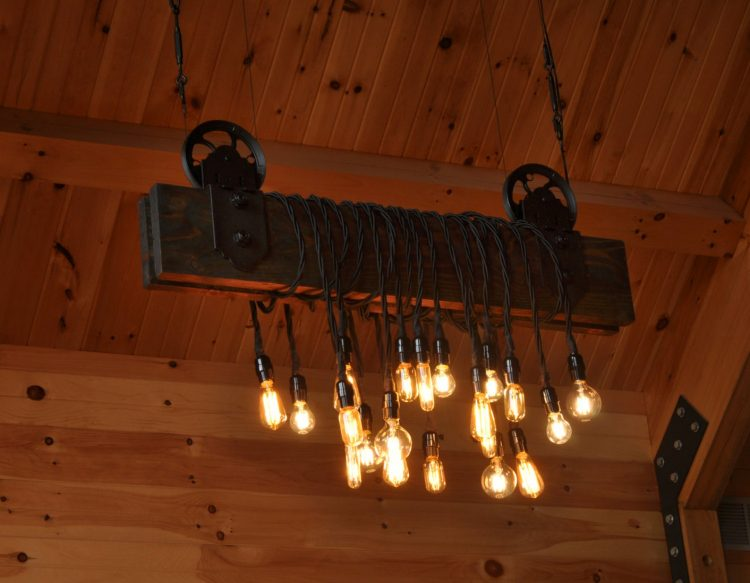 The Farm Beam Wood Plank Pulley Chandelier 3 - Table Lamps - iD Lights