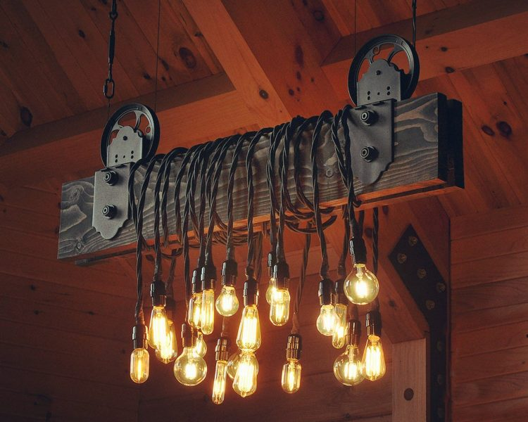 The Farm Beam Wood Plank Pulley Chandelier 1 - Table Lamps - iD Lights