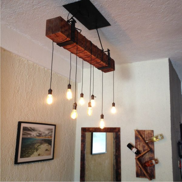 5 foot Reclaimed Barn Wood Beam Chandelier 5 - iD Lights