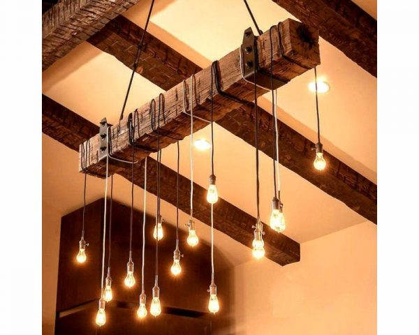 5 foot Reclaimed Barn Wood Beam Chandelier 1 - iD Lights