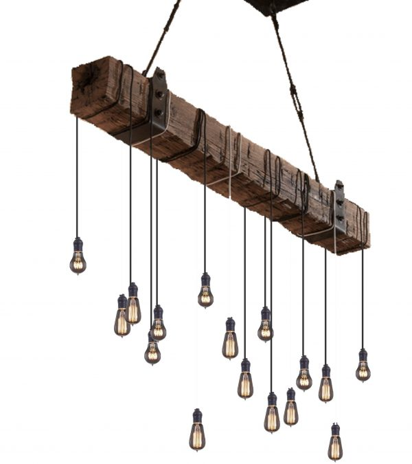 5 foot Reclaimed Barn Wood Beam Chandelier 4 - iD Lights
