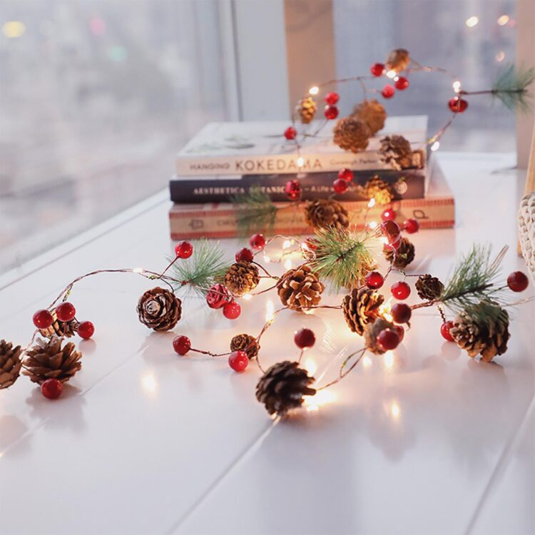 Christmas String Lights Fairy Lights Pine Cone Berries