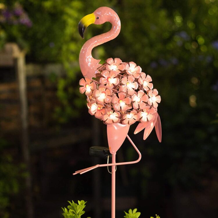 Pink Flamingo solar lights outdoor for Patio Lawn Backyard