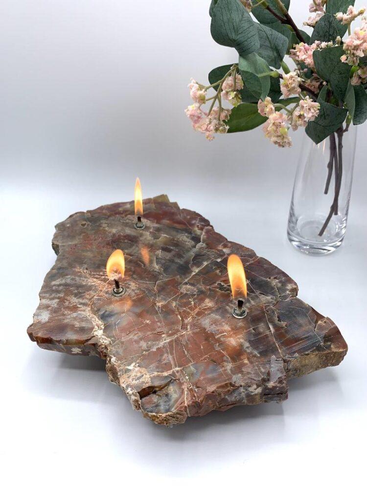 Arizona Petrified Wood 3 Wick Oil Candle Lamp 1 - Table Lamps - iD Lights