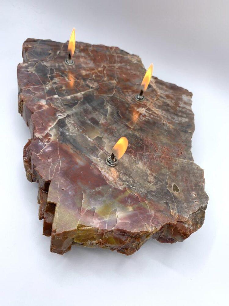 Arizona Petrified Wood 3 Wick Oil Candle Lamp 5 - Table Lamps - iD Lights