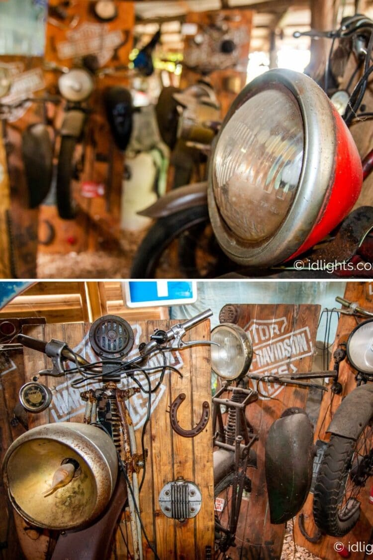 Handmade work of art by Gogus from motorcycle parts and wooden boards 18 - Wall Lamps & Sconces - iD Lights