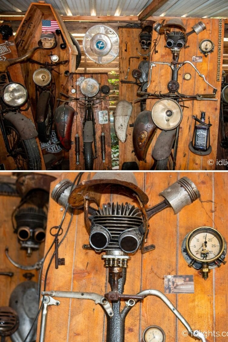 Handmade work of art by Gogus from motorcycle parts and wooden boards 14 - Wall Lamps & Sconces - iD Lights