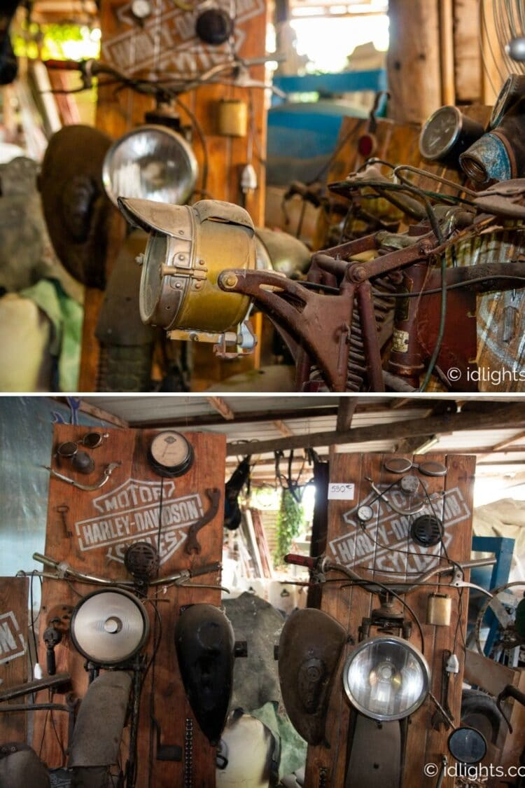 Handmade work of art by Gogus from motorcycle parts and wooden boards 17 - Wall Lamps & Sconces - iD Lights
