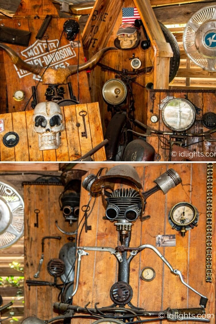Handmade work of art by Gogus from motorcycle parts and wooden boards 19 - Wall Lamps & Sconces - iD Lights