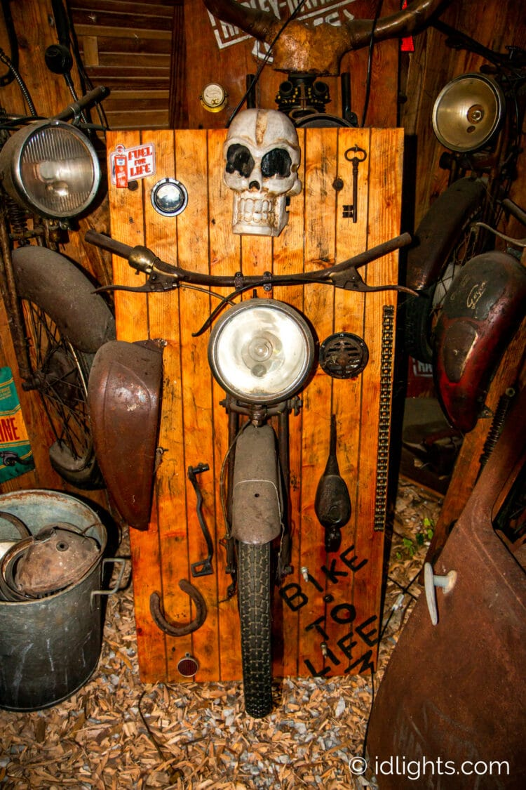 Handmade work of art by Gogus from motorcycle parts and wooden boards