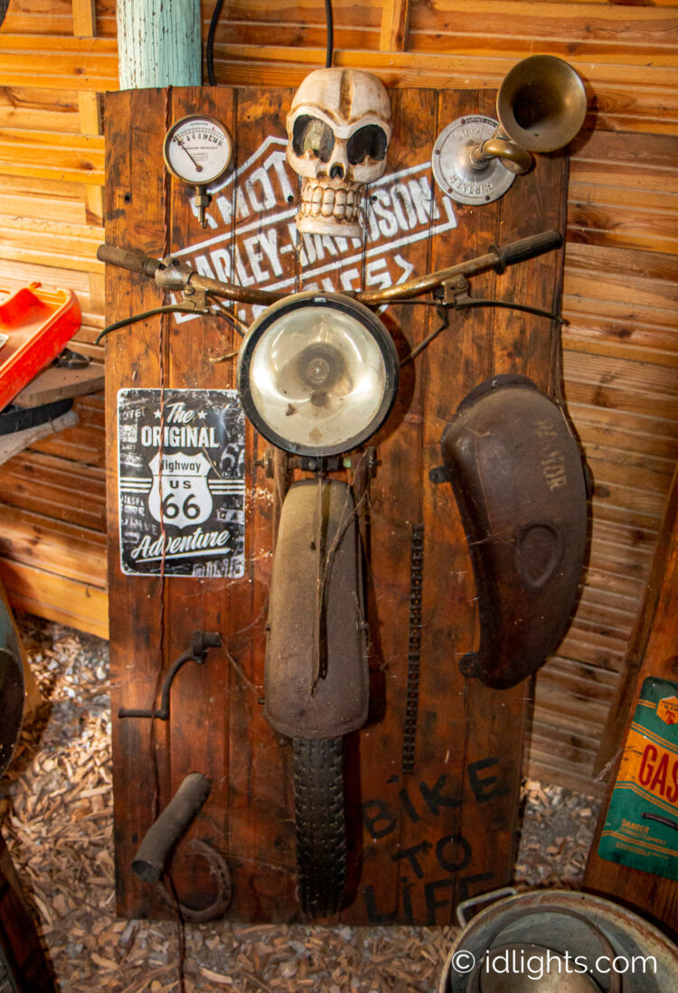 Handmade work of art by Gogus from motorcycle parts and wooden boards 2 - Wall Lamps & Sconces - iD Lights