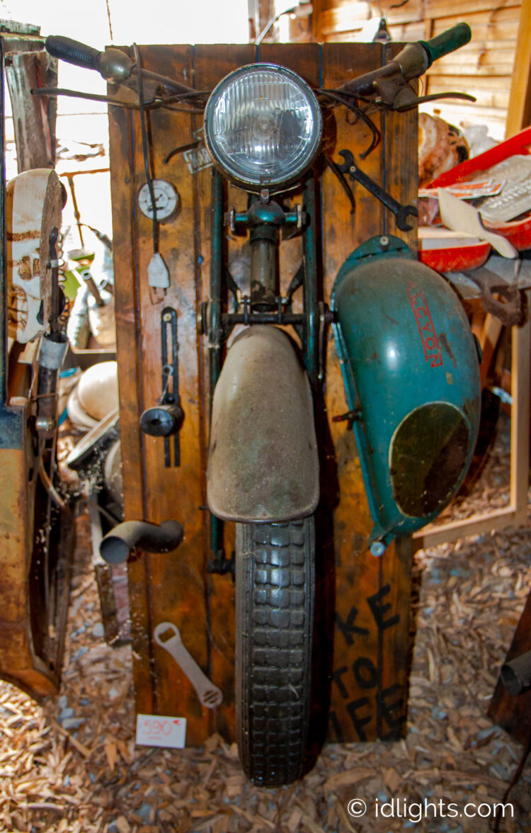 Handmade work of art by Gogus from motorcycle parts and wooden boards 3 - Wall Lamps & Sconces - iD Lights