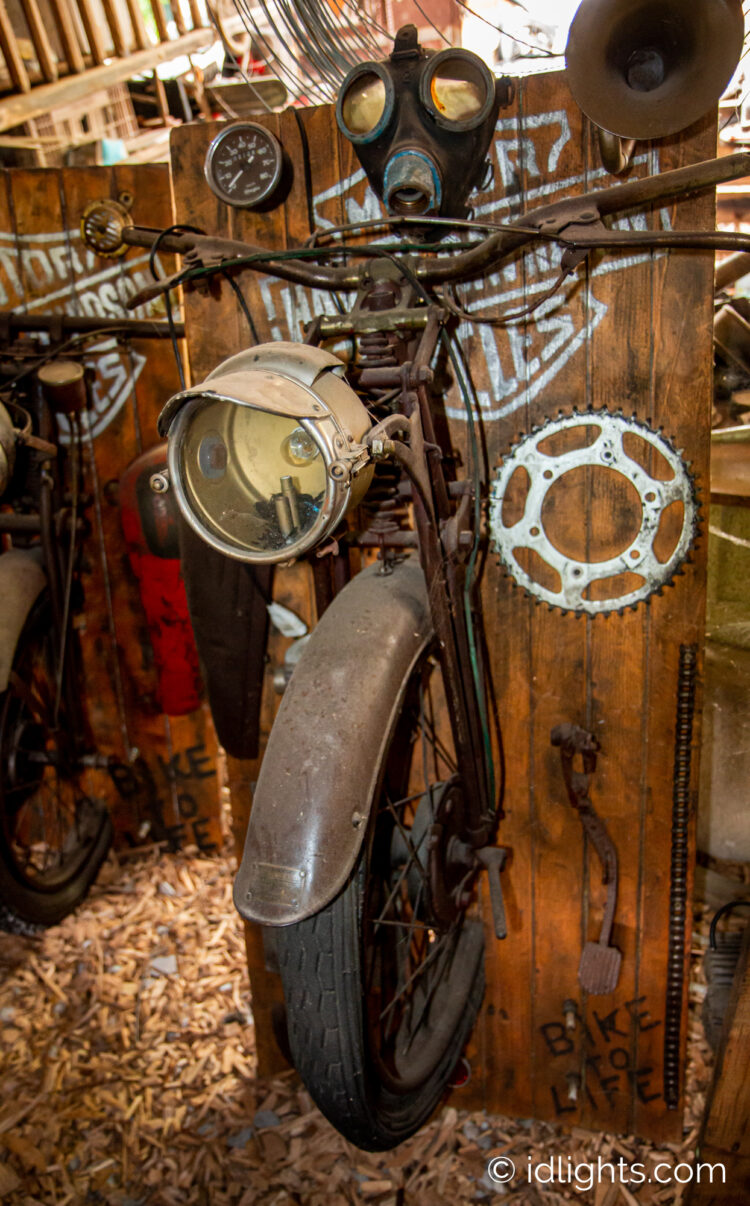 Handmade work of art by Gogus from motorcycle parts and wooden boards 6 - Wall Lamps & Sconces - iD Lights