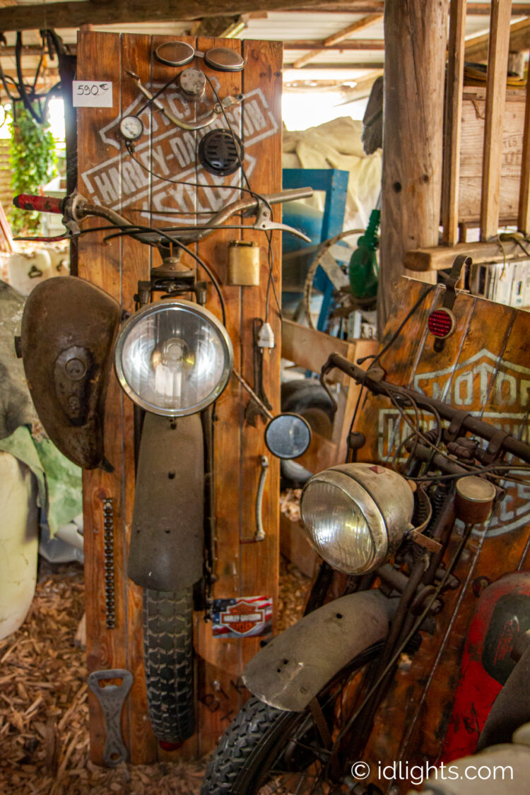 Handmade work of art by Gogus from motorcycle parts and wooden boards 2 - Wood Lamps - iD Lights