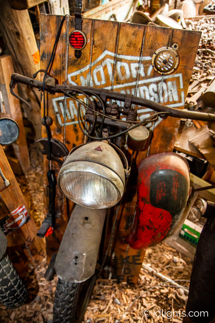 Handmade work of art by Gogus from motorcycle parts and wooden boards 8 - Wall Lamps & Sconces - iD Lights