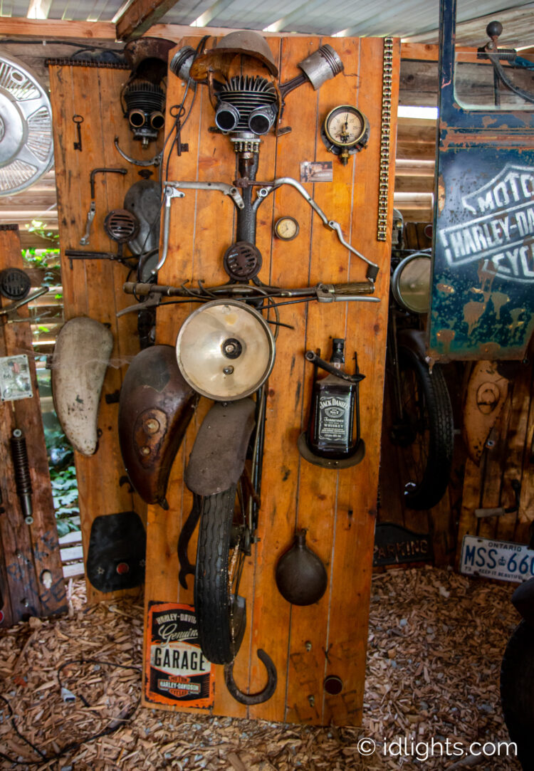 Handmade work of art by Gogus from motorcycle parts and wooden boards 11 - Wall Lamps & Sconces - iD Lights